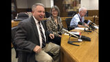 FILE - In this Jan. 18, 2019 file photo, Oregon Senate Republican Leader Herman Baertschiger, Jr., left, Senate Democratic Leader Ginny Burdick and Senate President Peter Courtney speak to the media at the State Capitol in Salem, Ore. Baertschiger told reporters Monday, May 6, 2019 that Senate Republicans in Oregon have fled Salem to avoid a Tuesday vote on a $1 billion per-year funding package for schools. They oppose the proposed half a percent tax on businesses with sales over $1 million. (AP Photo/Andrew Selsky, File)