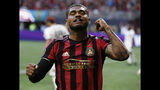 Atlanta United forward Josef Martinez reacts after a goal against Toronto FC during the first half of an MLS soccer match Wednesday, May 8, 2019, in Atlanta. (AP Photo/Mike Zarrilli)