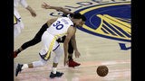 Portland Trail Blazers' CJ McCollum, right, and Golden State Warriors' Stephen Curry (30) chase the ball during the first half of Game 1 of the NBA basketball playoffs Western Conference finals Tuesday, May 14, 2019, in Oakland, Calif. (AP Photo/Jeff Chiu)