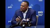 Retired MLB baseball player Adrian Beltre responds to questions at a news conference during the SMU Athletic Forum in Dallas, Wednesday, May 15, 2019. (AP Photo/Tony Gutierrez)