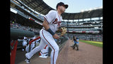 Atlanta Braves outfielder Austin Riley takes the field making his major league debut against the St. Louis Cardinals in a baseball game, Wednesday, May 15, 2019, in Atlanta. (Curtis Compton/Atlanta Journal-Constitution via AP)