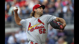 St. Louis Cardinals starting pitcher Michael Wacha (52) works against the Atlanta Braves in the first Inning of a baseball game Wednesday, May 15, 2019, in Atlanta. (AP Photo/John Bazemore)