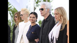 Actors Sara Driver, from left, Tilda Swinton, Selena Gomez, director Jim Jarmusch and actress Chloe Sevigny pose for photographers at the photo call for the film 'The Dead Don't Die' at the 72nd international film festival, Cannes, southern France, Wednesday, May 15, 2019. (Photo by Arthur Mola/Invision/AP)