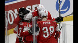 Swiss players react after scoring during the Ice Hockey World Championships group B match between Switzerland and Norway at the Ondrej Nepela Arena in Bratislava, Slovakia, Wednesday, May 15, 2019. (AP Photo/Ronald Zak)