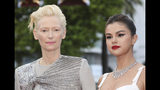 Actresses Tilda Swinton, left, and Selena Gomez pose for photographers upon arrival at the opening ceremony and the premiere of the film 'The Dead Don't Die' at the 72nd international film festival, Cannes, southern France, Tuesday, May 14, 2019. (Photo by Vianney Le Caer/Invision/AP)
