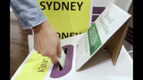 A voter casts their ballot at the Town Hall in Sydney, Australia, in a federal election, Saturday, May 18, 2019. Both major parties are promising that whoever wins the election the leader will remain prime minister until he next faces the voters' judgment. The parties have changed their rules to make the process of lawmakers replacing a prime minister more difficult. (AP Photo/Rick Rycroft)