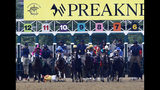 John Velazquez tumbles to the turf after falling off Bodexpress at the starting gate during the 144th Preakness Stakes horse race at Pimlico race course, Saturday, May 18, 2019, in Baltimore. (AP Photo/Patrick Semansky)