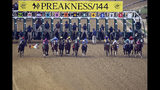Jockey John Velazquez tumbles to the track after falling off Bodexpress (9) as the field breaks from the starting gate in the 144th Preakness Stakes horse race at Pimlico race course, Saturday, May 18, 2019, in Baltimore. War of Will, far right, ridden Tyler Gaffalione won the race. (AP Photo/Nick Wass)