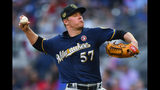 Milwaukee Brewers' Chase Anderson pitches to an Atlanta Braves batter during the first inning of a baseball game Saturday, May 18, 2019, in Atlanta. (AP Photo/John Amis)