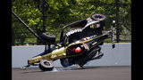 James Hinchcliffe, of Canada, goes airborne after hitting the wall in the second turn during qualifications for the Indianapolis 500 IndyCar auto race at Indianapolis Motor Speedway, Saturday, May 18, 2019, in Indianapolis. (AP Photo/Mike Fair)