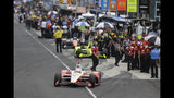 Josef Newgarden pulls out of the pits during practice for the Indianapolis 500 IndyCar auto race at Indianapolis Motor Speedway, Friday, May 17, 2019 in Indianapolis. (AP Photo/Darron Cummings)
