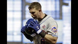 New York Mets' Jeff McNeil reacts after flying out in the ninth inning during a baseball game against the Miami Marlins, Saturday, May 18, 2019, in Miami. (AP Photo/Lynne Sladky)