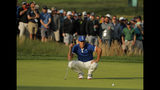 Brooks Koepka lines up a putt on the 17th green during the second round of the PGA Championship golf tournament, Friday, May 17, 2019, at Bethpage Black in Farmingdale, N.Y. (AP Photo/Andres Kudacki)