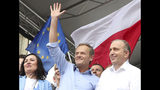 European Union Council President Donald Tusk,center, leads a march celebrating Poland's 15 years in the EU and stressing the nation's attachment to the 28-member bloc ahead of May 26 key elections to the European Parliament, in Warsaw, Poland, Saturday, May 18, 2019. (AP Photo/Czarek Sokolowski)