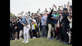 Dustin Johnson hits out of the rough on the 18th hole during the final round of the PGA Championship golf tournament, Sunday, May 19, 2019, at Bethpage Black in Farmingdale, N.Y. (AP Photo/Seth Wenig)