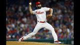 Philadelphia Phillies' Jake Arrieta pitches during the fourth inning of a baseball game against the Milwaukee Brewers, Wednesday, May 15, 2019, in Philadelphia. (AP Photo/Matt Slocum)