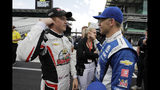 Spencer Pigot, left, talks with Ed Carpenter after qualifications for the Indianapolis 500 IndyCar auto race at Indianapolis Motor Speedway, Sunday, May 19, 2019 in Indianapolis. (AP Photo/Darron Cummings)