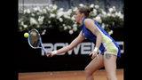 Karolina Pliskova, of the Czech Republic, returns a shot to Johanna Konta, of Britain during their final match at the Italian Open tennis tournament, in Rome, Sunday, May 19, 2019. (AP Photo/Gregorio Borgia)
