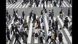 In this April 15, 2019, photo, people cross the street in Tokyo. The Japanese government says the economy grew at an annual pace of 2.1% in the first quarter, marking the second straight quarter of expansion. The Cabinet Office said Monday, May 20, 2019, seasonally adjusted real gross domestic product, the total value of a nation's goods and services, grew 0.5% in the January-March period from the previous quarter. (AP Photo/Koji Sasahara)