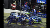 Kyle Larson pis during the NASCAR All-Star Race at Charlotte Motor Speedway in Concord, N.C., Saturday, May 18, 2019. (AP Photo/Mike McCarn)