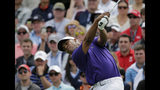 Harold Varner III drives off the first tee during the final round of the PGA Championship golf tournament, Sunday, May 19, 2019, at Bethpage Black in Farmingdale, N.Y. (AP Photo/Seth Wenig)