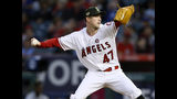 Los Angeles Angels starting pitcher Griffin Canning works to a Kansas City Royals batter during the first inning of a baseball game in Anaheim, Calif., Saturday, May 18, 2019. (AP Photo/Alex Gallardo)