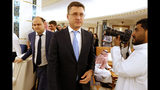Russian Minister of Energy Alexander Novak arrives to attend a meeting of the energy ministers from OPEC and its allies to discuss prices and production cuts, in Jiddah, Saudi Arabia, Sunday, May 19, 2019. The meeting takes places as tensions flare in the Persian Gulf after the U.S. ordered bombers and an aircraft carrier to the region over an unexplained threat they perceive from Iran, which comes a year after the U.S. unilaterally pulled out of Tehran's nuclear deal with world powers and reimposed sanctions on Iranian oil. (AP Photo/Amr Nabil)