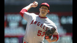 Los Angeles Angels pitcher Trevor Cahill throws against the Minnesota Twins in a baseball game Wednesday, May 15, 2019, in Minneapolis. (AP Photo/Jim Mone)