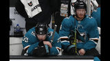 San Jose Sharks' Logan Couture (39) and Gustav Nyquist (14) react on the bench as the St. Louis Blues take a 5-0 lead in the third period in Game 5 of the NHL hockey Stanley Cup Western Conference finals in San Jose, Calif., on Sunday, May 19, 2019. (AP Photo/Josie Lepe)