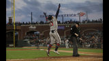 Atlanta Braves' Ronald Acuna Jr. (13) celebrates after hitting a solo home run against the San Francisco Giants during the seventh inning of a baseball game in San Francisco, Monday, May 20, 2019. (AP Photo/Jeff Chiu)