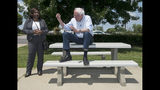 Presidential candidate Sen. Bernie Sanders (I-Vt.) speaks with Catherine Flowers of EJI at the Lowdnes County Interpretive Center in Hayneville, Ala., on Monday, May 20, 2019. (Jake Crandall/Montgomery Advertiser via AP)