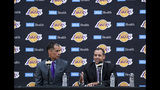 Los Angeles Lakers NBA basketball team general manager Rob Pelinka, left, introduces Frank Vogel as the Lakers new head coach at their training facility in El Segundo, Calif., Monday, May 20, 2019. (Scott Varley/The Orange County Register via AP)