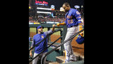 """FILE - In this April 24, 2018, file photo, New York Mets' Yoenis Cespedes (52) is congratulated by manager Mickey Callaway after hitting a three-run home run during the fifth inning of a baseball game against the St. Louis Cardinals in St. Louis. The slumping Mets have announced they are sticking with embattled manager Callaway """"for the foreseeable future"""" _ and sidelined slugger Cespedes broke his right ankle in an accident on his ranch. (AP Photo/Jeff Roberson, File)"""