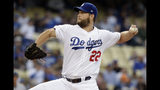 Los Angeles Dodgers starting pitcher Clayton Kershaw throws to a San Diego Padres batter during the first inning of a baseball game Tuesday, May 14, 2019, in Los Angeles. (AP Photo/Marcio Jose Sanchez)