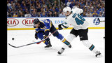 St. Louis Blues defenseman Colton Parayko (55) tries to block the shot of San Jose Sharks center Tomas Hertl (48), of the Czech Republic, during the second period in Game 4 of the NHL hockey Stanley Cup Western Conference final series Friday, May 17, 2019, in St. Louis. (AP Photo/Jeff Roberson)