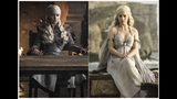 "This combination photo of images released by HBO shows Emilia Clarke portraying Daenerys Targaryen in ""Game of Thrones.""The final episode of the popular series aired on Sunday, May 19, 2019. (HBO via AP)"