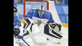 FILE - In this Feb. 15, 2018, file photo, Finland goalie Noora Raty watches the action during a preliminary round women's hockey game against Russia at the 2018 Winter Olympics in Gangneung, South Korea. More than 200 of the world's top female players have taken their next step toward a single, economically viable professional league by forming their own players' association. The new Professional Women's Hockey Association (PWHPA) announced Monday, May 20, 2019, that incorporation papers were filed Friday with help from attorneys from Ballard Spahr. (AP Photo/Julio Cortez, File)