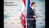 Austrian Chancellor Sebastian Kurz, of the Austrian People's Party, OEVP, leaves after he addressed the media during in Vienna, Austria, Monday, May 20, 2019. Austrian Chancellor Sebastian Kurz has called for an early election after the resignation of his vice chancellor Heinz-Christian Strache from the Freedom Party spelled an end to his governing coalition. (AP Photo/Michael Gruber)