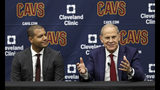 Cleveland Cavaliers head coach John Beilein, right, speaks during a news conference, Tuesday, May 21, 2019, in Independence, Ohio, as Cavaliers general manager Koby Altman, left, listens. Beilein left Michigan after a successful 12-year run for what will likely be his last coaching stop, the Cleveland Cavaliers, who believe the 66-year-old can accelerate their rebuild. (AP Photo/Tony Dejak)