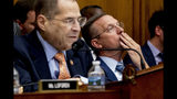 Ranking Member Rep. Doug Collins, R-Ga., right, listens as Judiciary Committee Chairman Jerrold Nadler, D-N.Y., left, speaks at a House Judiciary Committee hearing without former White House Counsel Don McGahn, who was a key figure in special counsel Robert Mueller's investigation, on Capitol Hill in Washington, Tuesday, May 21, 2019. President Donald Trump directed McGahn to defy a congressional subpoena to testify but the committee's chairman, Rep. Jerrold Nadler, D-N.Y., has threatened to hold McGahn in contempt of Congress if he doesn't appear. (AP Photo/Andrew Harnik)