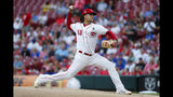 Cincinnati Reds starting pitcher Luis Castillo throws during the first inning of the team's baseball game against the Chicago Cubs, Thursday, May 16, 2019, in Cincinnati. (AP Photo/John Minchillo)
