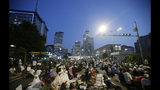 Supporters of Indonesian presidential candidate Prabowo Subianto pray during a rally outside the Elections Supervisory Agency (Bawaslu) building in Jakarta, Indonesia, Tuesday, May 21, 2019. Indonesian President Joko Widodo has been elected for a second term, official results showed, in a victory over a would-be strongman who aligned himself with Islamic hard-liners and vowed Tuesday to challenge the result in the country's highest court. (AP Photo/Achmad Ibrahim)