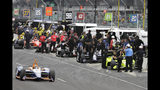 JR Hildebrand (48) leaves the pits during practice for the Indianapolis 500 IndyCar auto race at Indianapolis Motor Speedway, Monday, May 20, 2019, in Indianapolis. (AP Photo/Darron Cummings)