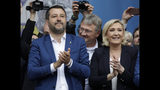 Matteo Salvini and Marine Le Pen, Leader of the French National Front, attend a rally organized by League leader Matteo Salvini, with leaders of other European nationalist parties, ahead of the May 23-26 European Parliamentary elections, in Milan, Italy, Saturday, May 18, 2019. (AP Photo/Luca Bruno)