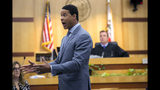Brian Watkins, an attorney for former NFL football player Kellen Winslow Jr., gives his opening statement to the jury during Winslow's rape trial, Monday, May 20, 2019, in Vista, Calif. (John Gibbins/The San Diego Union-Tribune via AP, Pool)