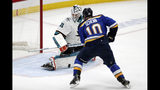 St. Louis Blues center Brayden Schenn (10) scores against San Jose Sharks goaltender Martin Jones (31) during the second period in Game 6 of the NHL hockey Stanley Cup Western Conference final series Tuesday, May 21, 2019, in St. Louis. (AP Photo/Tom Gannam)
