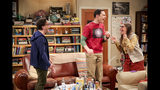 """This photo provided by CBS shows Johnny Galecki, from left, Jim Parsons and Mayim Bialik in a scene from the series finale of """"The Big Bang Theory,"""" Thursday, May 16, 2019, airing 8:30 - 9:00 p.m., ET/PT, on the CBS Television Network. (Michael Yarish/CBS/Warner Bros. Entertainment Inc. via AP)"""