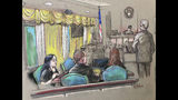 FILE - In this April 15, 2019 file court sketch, Yujing Zhang, left, a Chinese woman charged with lying to illegally enter President Donald Trump's Mar-a-Lago club, listens to a hearing Monday, April 15, 2019, before Magistrate Judge William Matthewman in West Palm Beach, Fla. Yujing Zhang told U.S. District Judge Roy Altman Tuesday, May 21, 2019 that she wants to fire her attorneys and represent herself. Altman said he would not allow Zhang to dismiss her attorneys until she has been examined by a psychiatrist. If deemed competent, the judge said, she could represent herself. (Daniel Pontet via AP, File)