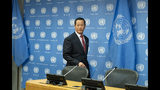 North Korea's U.N. Ambassador Kim Song arrives to address a news conference at U.N. headquarters Tuesday, May 21, 2019. (AP Photo/Craig Ruttle)