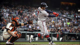 Atlanta Braves' Dansby Swanson swings for a three-run home run off San Francisco Giants' Jeff Samardzija during the second inning of a baseball game Wednesday, May 22, 2019, in San Francisco. (AP Photo/Ben Margot)